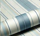 DUOCK Wallpaper Modern Fashion Horizontale weiß blau gestreiften Tapeten Rollen vertikale Kinder Kind für Wand Wohnzimmer Schlafzimmer, Blau, 53 CM X 10 M