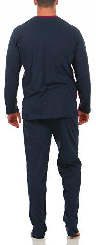 Langer Schlafanzug Baumwolle Rundhals oder V-Ausschnitt - weicher warmer Pyjama - 5 verschiedene Modelle und Farben wählbar Grösse 50/M - 56/XXL Navy Grau Bordeaux gestreift
