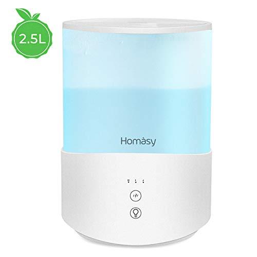 Homasy 2.5L Humidificador Aceites Esenciales,Humidificador Ultrasónico con Niebla Fría,Luces de Humor de 7 Colores, Llenado Superior,Modo de Reposo,Apagado Automático para Humidificador Bebés,Azul