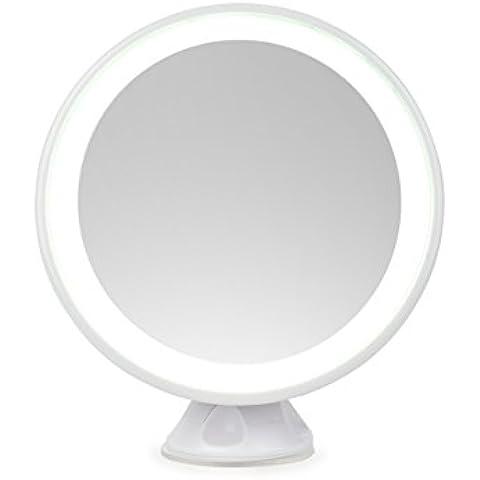Homebunnyy Regalo para el Día de San Valentín, Espejo de Maquillaje Coméstica con LED Luz, Espejo de Maquillaje Iluminado, Espejo de Aumento 5X Rotación de 360° con Luz , Ventosa, Espejo de baño de carga USB para el maquillaje afeitado y vestidor