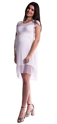 Mija - Elegantes 2 in1 Umstandskleid Schwangerschaftskleid / Kleid 4036 Weiß