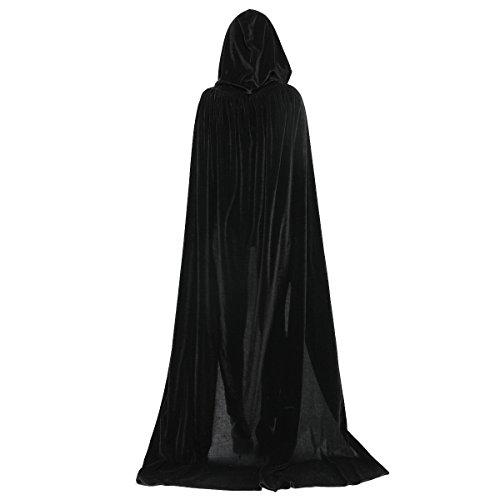 Huntforgold Umhang mit Kapuze Lange Samt Cape für Halloween Karneval Fasching Vampir ()