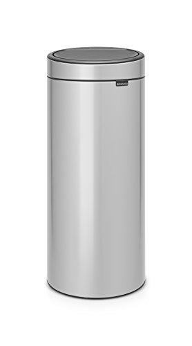 Brabantia 115387 Touch Bin New mit herausnehmbaren Kunststoffeinsatz, metallic grey, 30 L 50 L Touch Bin