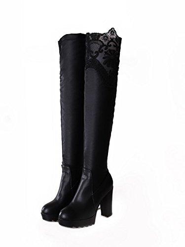 AllhqFashion Damen Blend-Materialien Rein Überknie Hohe Stiefel Hoher Absatz Stiefel Schwarz