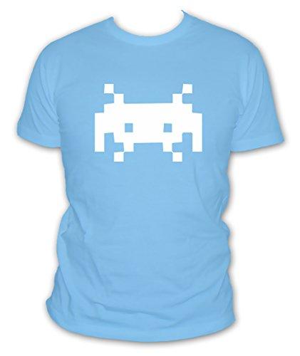 labricot-blanc-t-shirt-gamer-space-invaders-logo-pixel-arcade-geek-manches-courtes-couleur-bleu-ciel