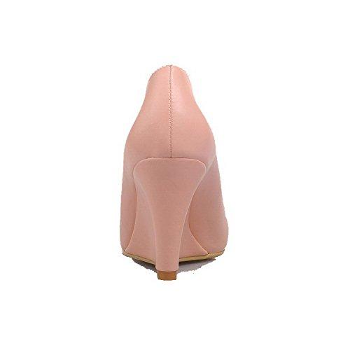 VogueZone009 Femme Matière Souple Pointu à Talon Haut Tire Couleur Unie Chaussures Légeres Rose