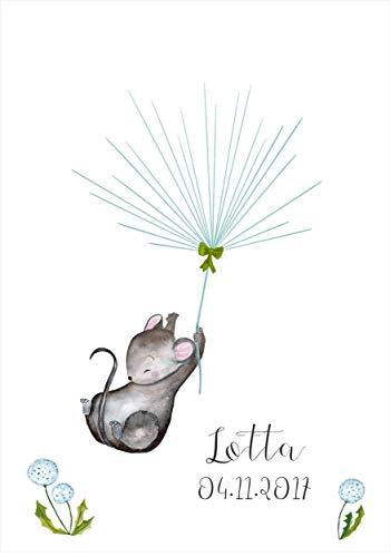Geschenk personalisiert Gästebuch A3 Taufe Geburt Fingerabdruck-Baum Kleine MAUS für Mädchen -