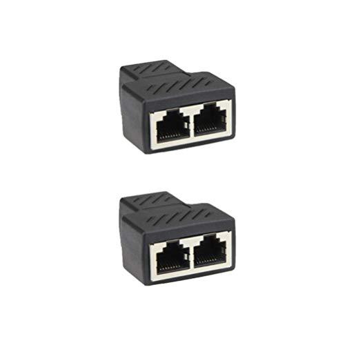 Solustre RJ45-Koppler RJ45-Ethernet-Splitter-Adapter 1 bis 2 Dual-Buchse-Extender-Stecker LAN-Netzwerk-Buchse-Stecker (2 Stück) -
