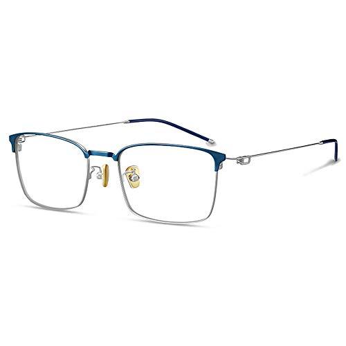 HAIBUHA Brille Vollbild Reines Titan Brillengestell Flacher Spiegel Männlich (Farbe : Blau)