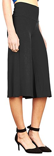 Happy Lily femmes Fond Large jambe Padel Palazzo Bell Yoga pour Femme Taille Haute Noir