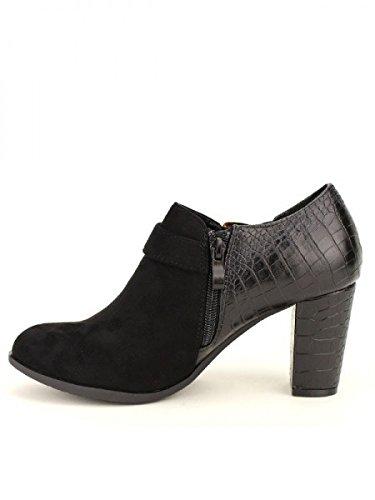 Cendriyon, Bottine Noire Bi matière SEEMA Chaussures Femme Noir