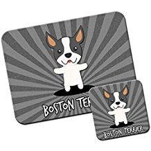 American Cartoon Hunde/Mauspad und Untersetzer Set Boston Terrier, Boxwood -