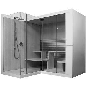 Duravit DU Sauna Inipi Ama 2350x2205x2220mm mit Dusche frt,Vorwand,Antislip,am.nussbaum