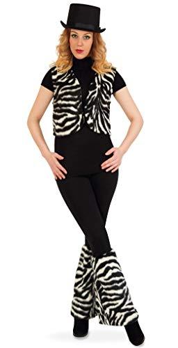 KarnevalsTeufel Damenkostüm-Set Zebra, 3-TLG Weste, Stulpen und Zylinder (ca. 58 cm) | M, XL | Plüsch, Tierkostüm, Karneval, Mottoparty (M)