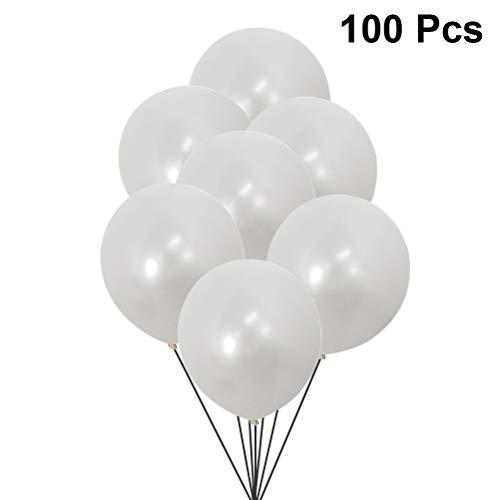 ex Ballon Helium Rund Ballons Dicke Perlen Ballons Party Hochzeit Dekoration 100 Stück (Pearl White) ()