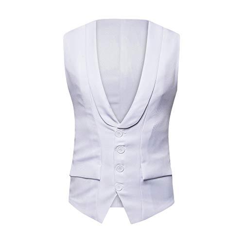 KPILP Herren Herbst Winter Formal Business Arbeit Tuxedo Anzug Ärmellos Weste Grundlegende Jacke Top Mantel(A-weiß, M) -