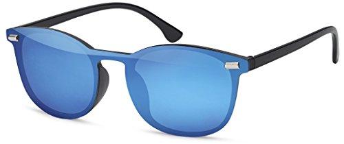 Feinzwirn Wayfarer Sonnenbrille randlos mit Flachglaslinsen verspiegelt und runden Gläsern unisex (blau)