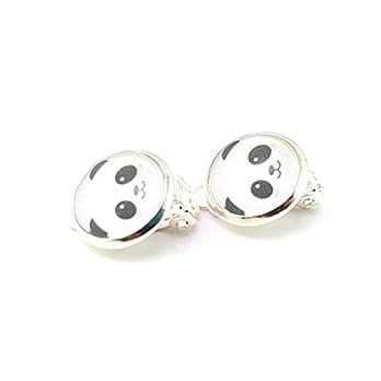 Stechschmuck Ohrclips Handmade Panda Silober Farben Kitsch Kawaii Damen Kinder 14mm 1 Paar Nickelfrei