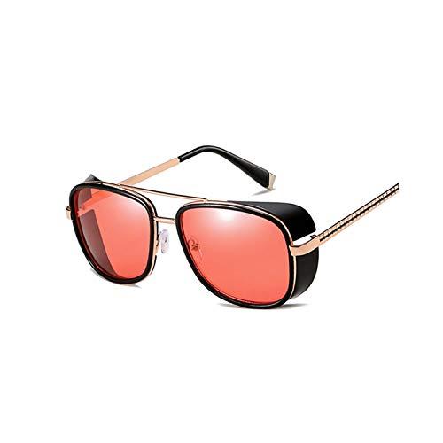 FGRYGF-eyewear2 Sport-Sonnenbrillen, Vintage Sonnenbrillen, Tony Stark Iron Man Sunglasses Men Women Steampunk Sun Glasses Male Vintage Gradient Red Sunglass UV400 Red