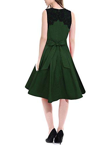 VKStar® Retro 50er elagantes Spitze Blumenapplique Swing Damen Abendkleid  Brautjunferkleid Dunkelgrün
