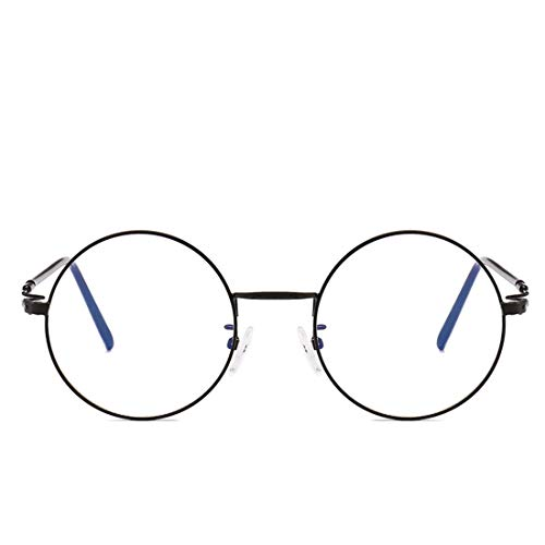 Shiduoli Retro runde Brille Rahmen Nicht verschreibungspflichtige Brille für Frauen, Männer (Color : Black)
