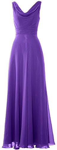 MACloth Women Long Cowl Neck Wedding Party Bridesmaid Dress Formal Gown purple