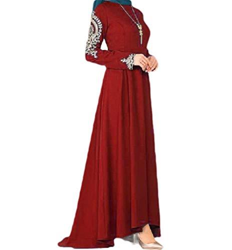 VITryst Women Muslim Islamic Dubai Premium Floral Printed Kaftan Maxi Dress Red XXL (Womens Printed Kaftan)