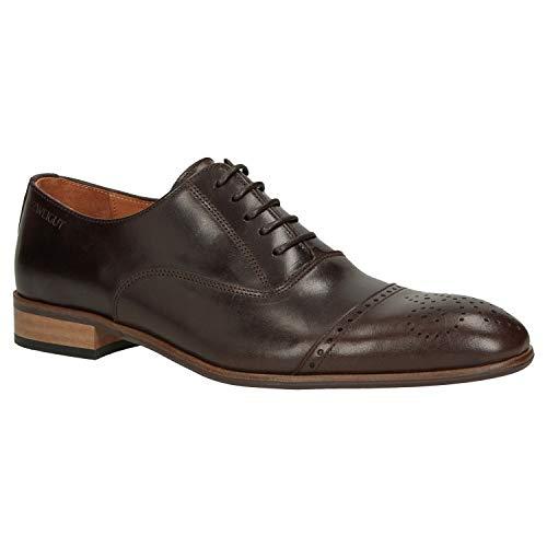 Zweigut® -Hamburg- smuck #259 Herren Leder Schuh Oxford Round Cap-Toe Business, Schuhgröße:40, Farbe:Kastanie -