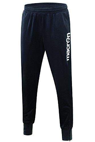 Pantalone Tuta Uomo Sportivo con Fondo Stretto Macron Baal Allenamento Calcio, Colore: Nero, Taglia: M