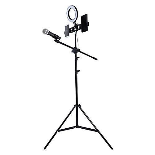 Electz Leicht Faltbar Mikrofon Stativ, Ring füllen, Selfie, Live-Übertragung, Höhe Einstellbar Stand, Auslegerarm, 2 Telefonclips, 1 mic Clip, Schwarz (Mikrofon-clip-ständer)