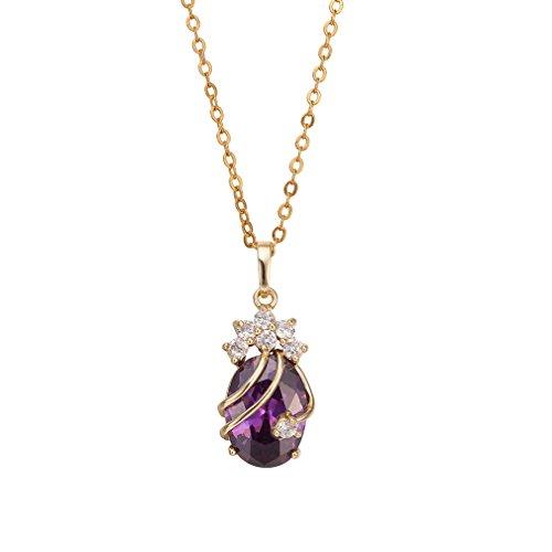 Gold überzogenes Rhinestone Kristall lila Kristall Anhänger Halskette Partei Dekorationen (Gold Und Lila Dekorationen)