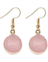 ce8b3bf13dbf Junlinto Druzy Piedra Gancho Pendiente de Gota Círculo Redondo Cuarzo  Natural Geoda Cristal Joyas Rosa