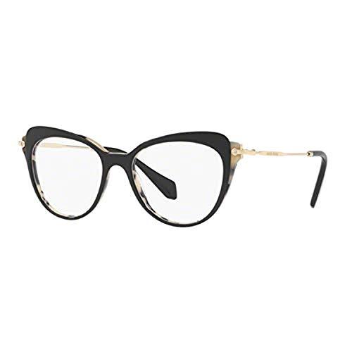 MIU MIU MU 01QV Glasses in Black on White Havana MU 01QV ROK1O1 50 Black Clear 50