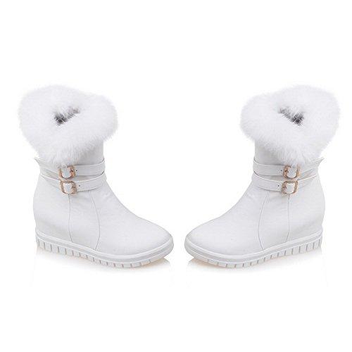 AllhqFashion Damen Reißverschluss Mittler Absatz Rein Metallisch Niedrig-Spitze Stiefel Weiß
