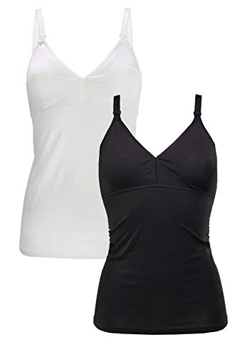 Herzmutter Stilltop-Stillshirt-Unterhemd für Damen   einfache Stillfunktion   integriertes Bustier-BH mit Clip-Verschlüssen   hochwertiger Baumwoll-Mix   1er & 2er-Set   5420 (L, Schwarz Weiß) -