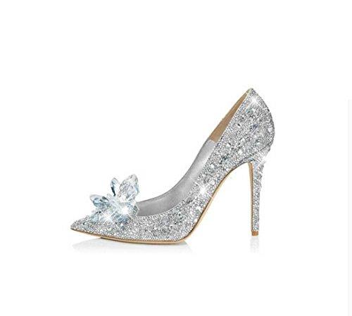 HYLM Zapatilla de cristal de Cenicienta térmica flor de mariposa plata diamante zapatos de tacón alto Zapatos de boda exquisitos zapatos de fiesta , silver , 38