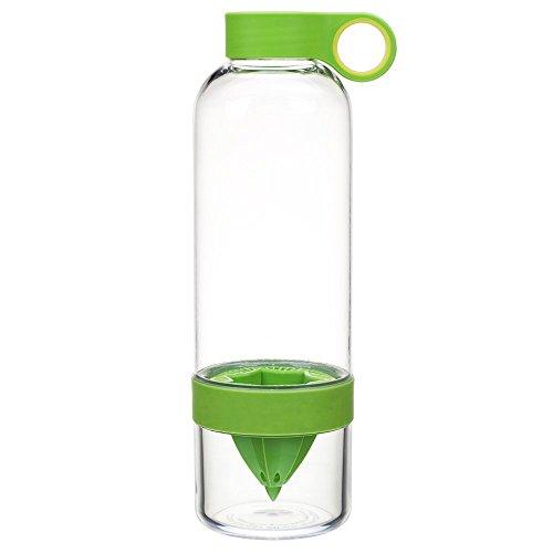 WXZSB Plástico de una Botella de Agua de limón Fresco de limón Bebida exprimidora Ware para Camping Deportes,Verde