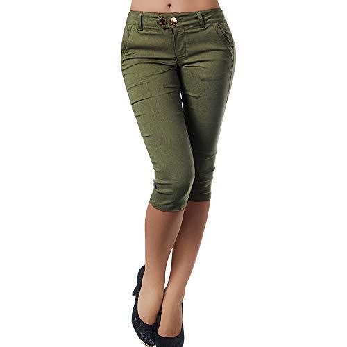 Oliviavane Capri Cropped Trousers Femme Ete Pants Causal Couleur Pure Bouton Women LA Mode Plage Chic Belle Ample Léger Jegging Fille 10 Ans Jean Slim Fill Pantyhose Sexy Ouvert