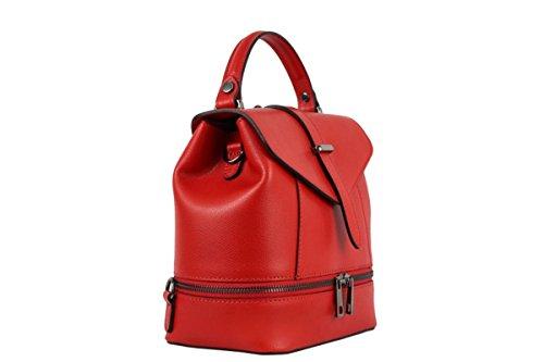 ZETA SHOES Zaino Donna in Vera Pelle Borsa a Mano Made in Italy MainApps Rosso