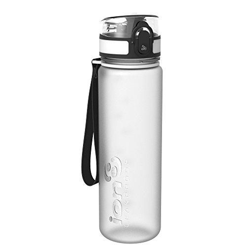 Ion8 auslaufsichere schlanke Wasserflasche / Trinkflasche, BPA-frei, 500ml / 18oz, Weiß (Frosted Ice) -