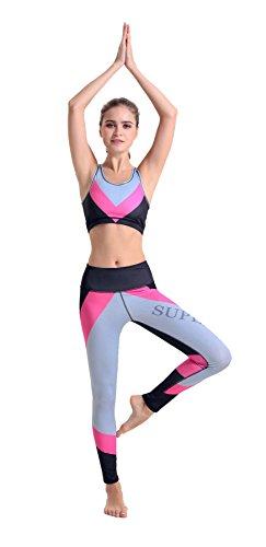 NiSeng Damen Sport BH Ohne Bügel Jogginghose Yoga Lauftrainings Übungs Gamaschen Strumpfhosen Set Large