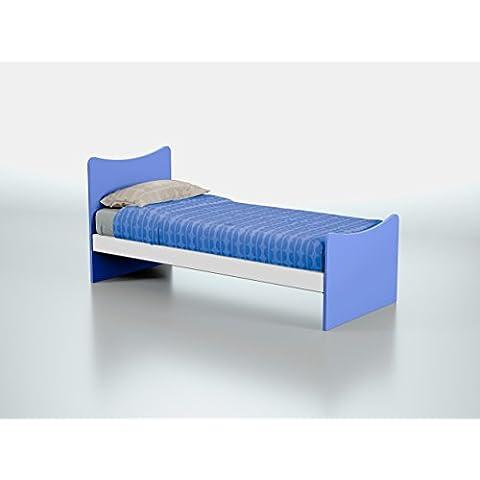 Struttura letto singolo in legno per bambini e ragazzi Farfalla Azzurro-Prodotto Made in Italy-Adatto a rete 190x80cm