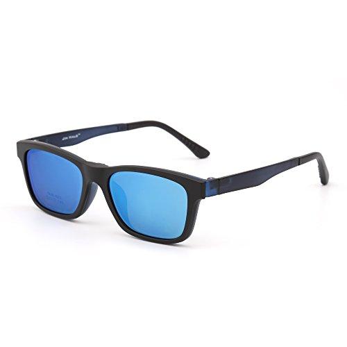 JIM HALO Retro Polarisiert Magnetisch Sonnenbrille Clip auf TR Brille Rahmen Damen Herren(Matt-schwarz/Grau)