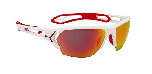 Cébé S'Track Herren-Sonnenbrille Large bunt - Matte White Red 1500 Grey Polarized Orange FM + 1000 Clear