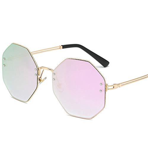 RMJCZQX Achteckige Sonnenbrille Trend persönlichkeit Rahmen Sonnenbrille männer und Frauen Mode Sonnenbrillen uv400 Sonnenschirm Spiegel (lila quecksilber Film)