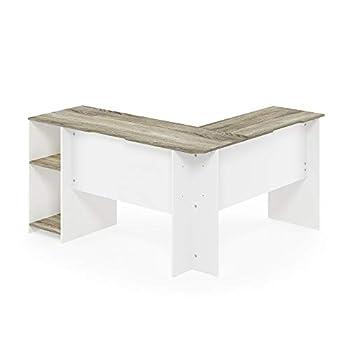 Furinno Computer Desks, Wood, Sonoma Oak/White, one size