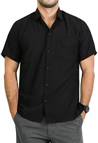 LA LEELA männer Hawaiihemd Kurzarm Button Down Kragen Fronttasche Beach Strand Hemd Manner Urlaub Casual Herren Aloha schwarz_86 2XL Viskose einfach