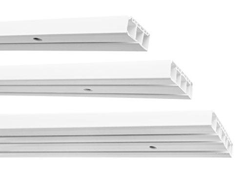 Garduna | 450cm (3x150cm) /3-läufig | Kunststoff Gardinenschiene Vorhangschiene, (1-/ 2-/ 3-läufig, Kunststoff, weiss)