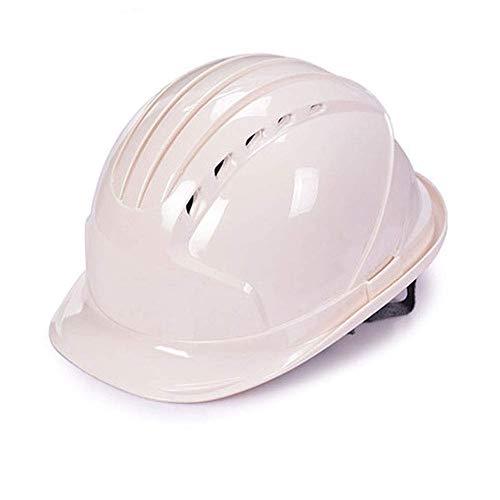 WYNZYSLBD Schutzhelme Bauarbeiterhelm, Schutzhelm Mit Kinnriemen, Sehr Leichter Bauarbeiterhelm Bauarbeiterhelm Mit Belüftung (Color : White)