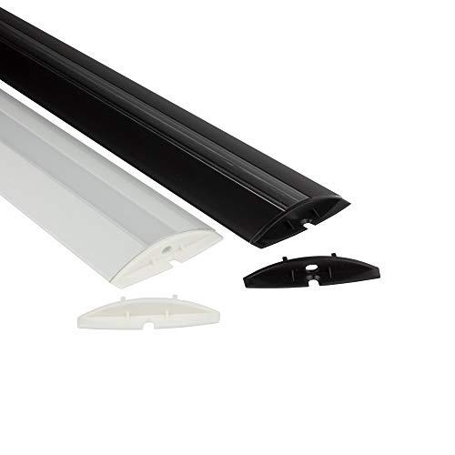 Schienen-beleuchtung (F01 LED Aluprofil Lichtleiste Schiene Übergang für LED Streifen Strip B-Ware 2m schwarz opal)